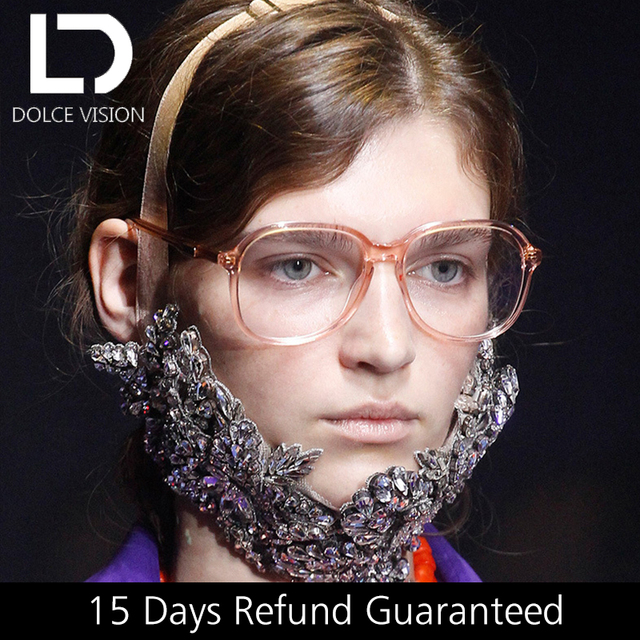 942344f69ecc DOLCE VISION Pink Oval Women Glasses Fashion Trending Eyeglasses Frame  Clear Lens High Quality Oversize Glossy Spectacles 2018