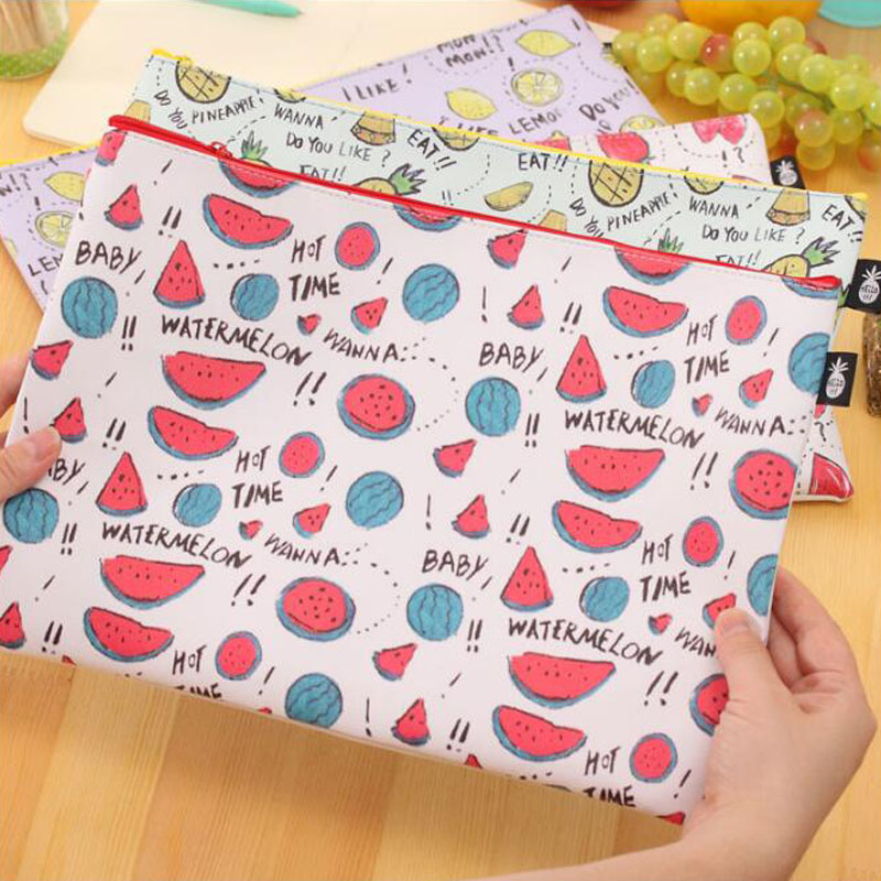 1PCS Summer Colorful A4 Fruit File Bag Zipper Bag Pencil Bag Waterproof Large Capacity Document Bag Office&School Supplies