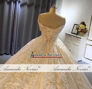 Image 2 - Бальное платье принцессы с открытыми плечами, свадебное платье цвета шампанского, Новинка