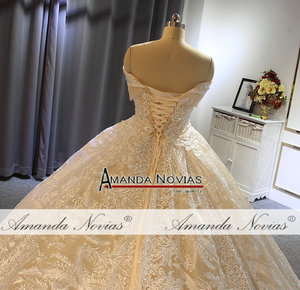 Image 2 - Off the shoulder straps ball gown princess wedding dress champagne color brand new
