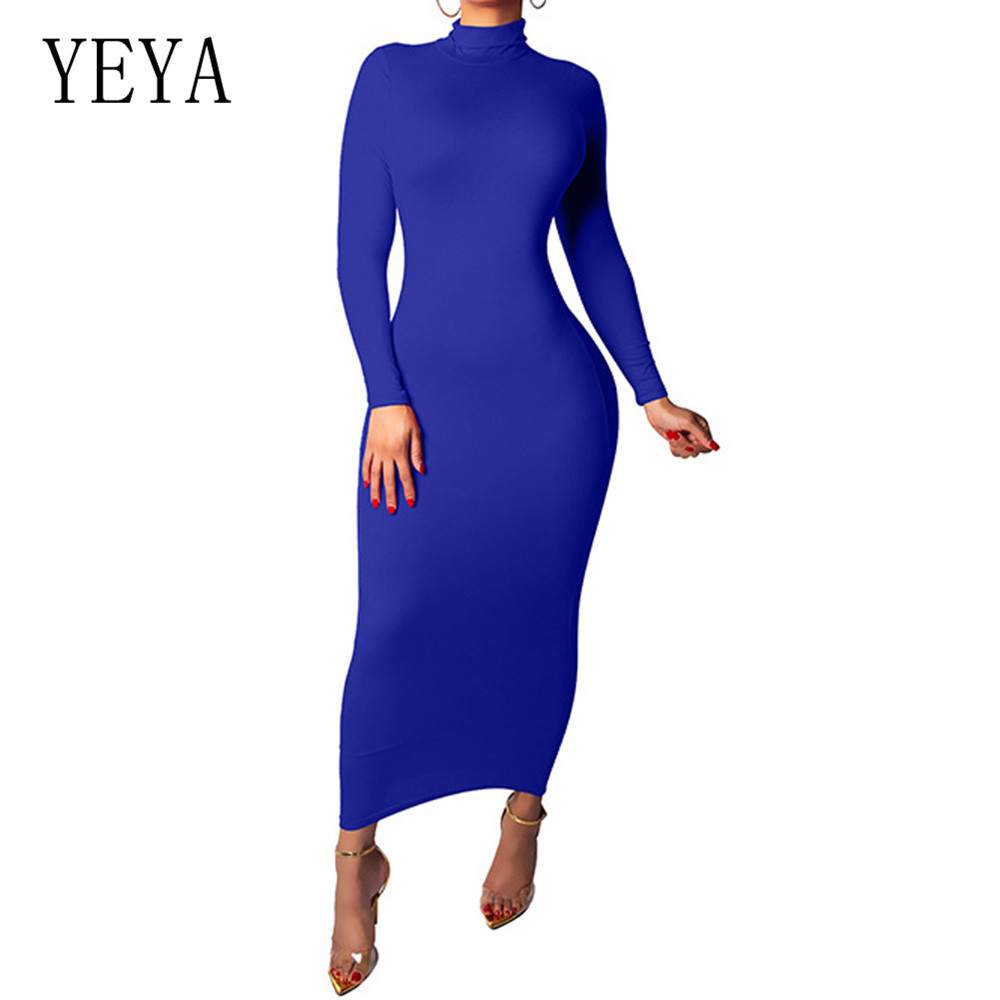 YEYA Women Long Sleeve Turtleneck Bodycon Bandage Autumn Dress New Elegant Celebrity Party Slim Dress Hollow Out Party Vestidos(China)