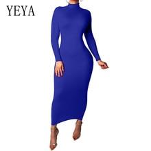 YEYA Women Long Sleeve Turtleneck Bodycon Bandage Autumn Dress New Elegant Celebrity Party Slim Hollow Out Vestidos