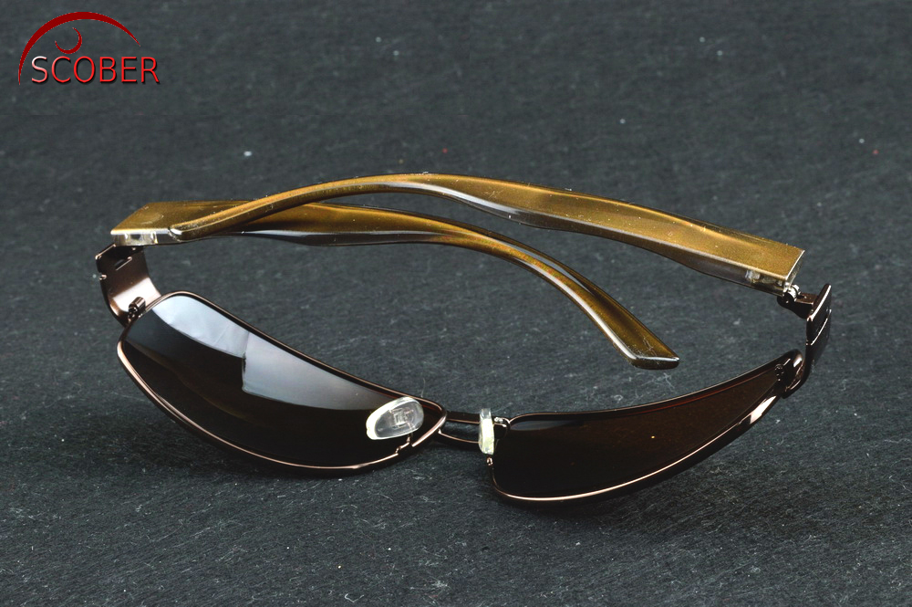 Double Bridged Wide Temple Pilot Perfect Contact BROWN polarized sunglasses Custom Made Myopia Minus Prescription Lens -1 to-6