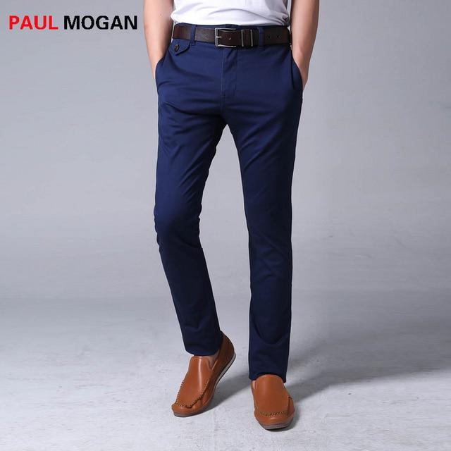 4a5ebcb864 Paul Mogan pantalones casuales azul 2017 algodón de la marca de Alta  calidad moda hombre pantalones
