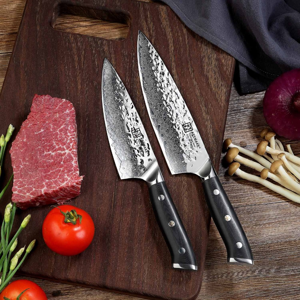 Sunnecko 2pcs Damascus Steel Chef Knives Set Japanese AUS 10 Core Razor Sharp Blade G10 Handle