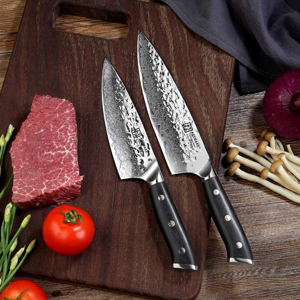 Sunnecko 2 stücke Damaskus Stahl Koch Messer Set Japanischen AUS 10 Core Rasiermesser Scharfe Klinge G10 Griff Kochmesser Kochen Küche messer-in Messer-Sets aus Heim und Garten bei  Gruppe 1