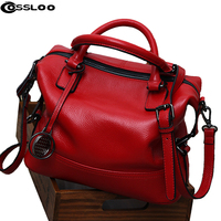 Women Genuine Leather Handbag Spring Boston Designer Women Handbag Tote Shoulder Bag Ladies Purse Casual Satchel