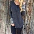 Outono & Inverno Mulheres Camisola Longa Seção Camisa Impressão Em Torno Do Pescoço Simples Moda Quente Pullovers Finos