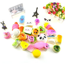20 Pcs/lot Toys Squishy Cat Bread Cake Bun Donut Keychain Kawaii Squishies Ice Cream Squishy Slow Rising Antistress Squishe Food(China)
