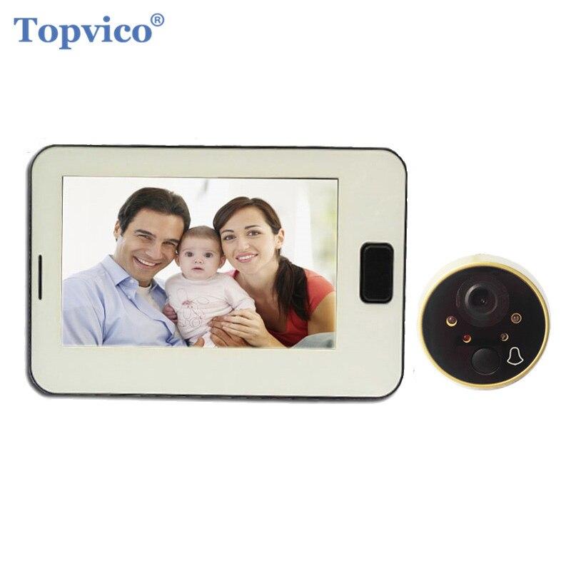 Topvico видео глазок дверной звонок камера 4,3 экран часы Digtal электронный дверной звонок видео двери просмотра видео-глаз домашней безопасност...