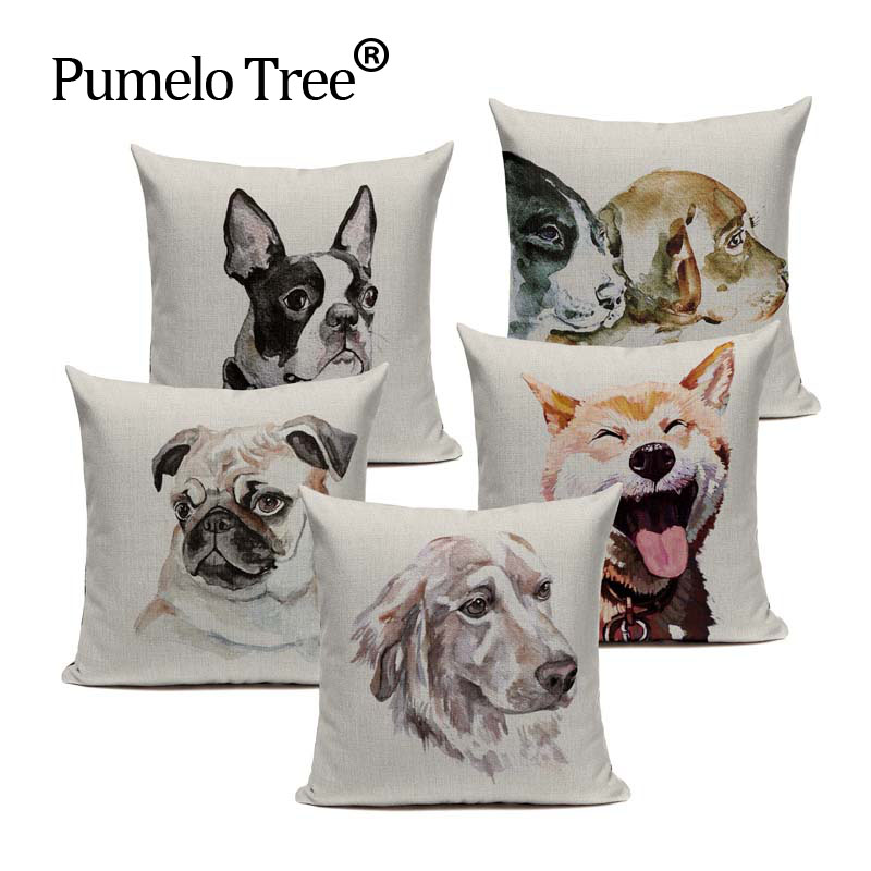 New Design Linen Watercolor Dog Almofadas Covers 45Cmx45Cm Square Home Improvement Decorating 1 Side Printing Outdoor Pillows