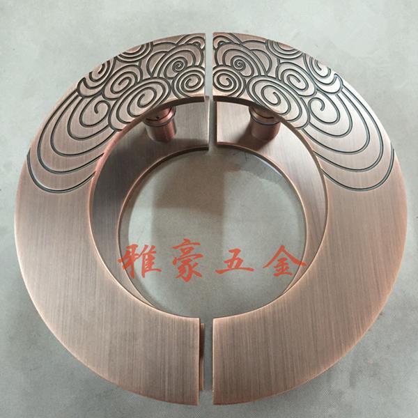 A Chinese antique wooden door handle door handle frameless glass ...
