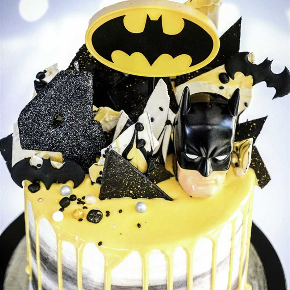 Acrylic Batman Cake Cupcake Toppers 2019 New Cartoon Fashion Cute Creative Batman Kids Boy Party Birthday Decoration Cake Topper