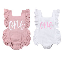 2019 Cute Newborn Baby Clothes Girls Summer ONE Letter Print Ruffles Bodysuit Jumpsuit Baby Girls Clothes Toddler Clothing 0-24M