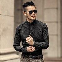 2018 Metrosexual Men Spring Casual Slim Black Printed Cotton Long Sleeve Shirt Men Mixing Color Brand