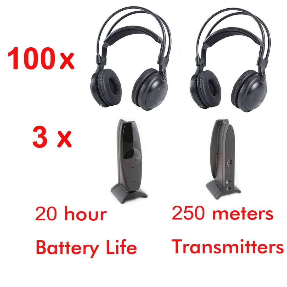 все цены на Professional Ultra low bass 100pcs Silent disco Wireless headphones and 3 transmitters- for silent party meeting DJ and so on онлайн
