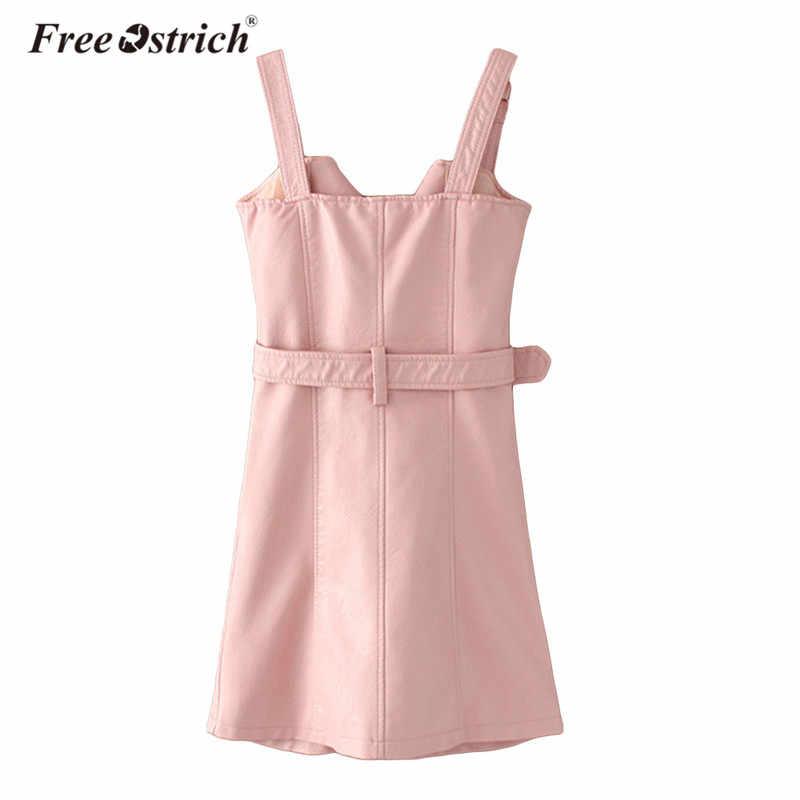 Vestido de couro de avestruz livre moda feminina do plutônio 2019 verão v pescoço mini vestido sexy sash zíper preto vestido de festa
