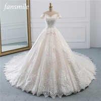 Fansmile 高級レース夜会服のウェディングドレス 2019 Vestidos デ · ノビア王女の品質のウェディング花嫁ドレス FSM-527T