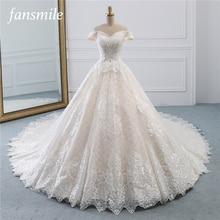 Fansmile יוקרה תחרה ארוך רכבת כדור שמלת חתונת שמלת 2020 Vestidos דה Novia נסיכת באיכות חתונה הכלה שמלת FSM 527T