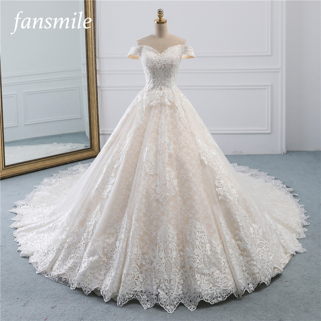 Fansmile Luxury Lace Long Train Ball Gown Wedding Dress 2020 Vestidos de Novia Princess Quality Wedding Bride Dress FSM 527T