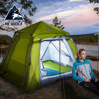 Hewolf 3 4 People Camping Tent Automatic Tent Fast Open Square Head Cover Family Tent Waterproof Breathable Camping Tent 2 Types