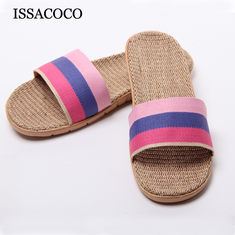 ISSACOCO Women Brand Summer Linen Silppers Breathable Non-slip Fashion Indoor Slippers Women Hemp Slides Women Slippers Sandals coolsa women s summer flat non slip linen slippers indoor breathable flip flops women s brand stripe flax slippers women slides