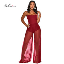 Echoine Women Jumpsuit Sexy See Through Mesh Patchwork Strapless Off Shoulder Loose Long Wide Leg Pants Fashion Rompers Clothes