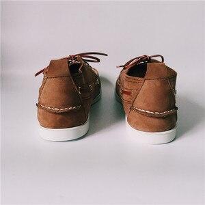 Image 5 - Erkekler Üst Deri Rahat Daireler Lace Up Moda sürüş ayakkabısı Adam Vintage Bot Ayakkabı Chaussure Homme Size46 Zapatos Hombre Ayakkabı