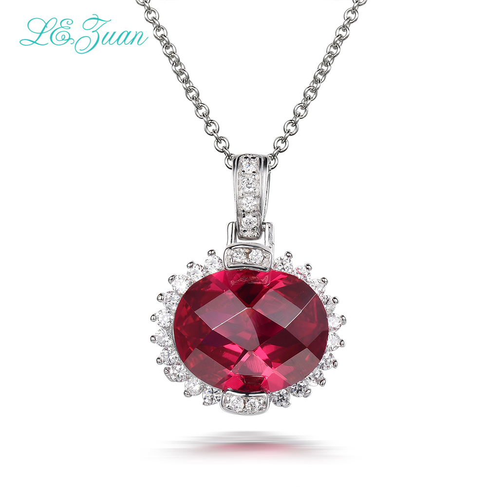 L&zuan S925 Sterling Silver Necklace With 6.37ct Red stone Luxury Pendant Fine Jewelry For Women