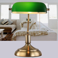 Led Button type Chinese traditional lamp/ green glass cover table lamp retro vintage table lighting