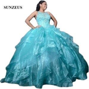Image 1 - טורקיז אורגנזה חצאית Quinceanera שמלות סקופ טנק מבריק חרוזים פאייטים מתוק 15 שמלות כדור שמלת sukienki balowe SQ04
