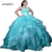 Turquoise Organza กระโปรง Quinceanera Scoop ถัง Shiny Sequins ลูกปัดหวาน 15 Ball Gown sukienki balowe SQ04