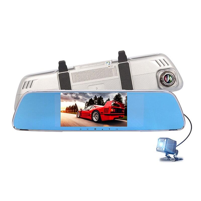 "YANTU 4.3"" Dual Camera lens Review Mirror Car DVRS FHD 1080P G-Sensor Motion Detect parking mirror car camera video recorder"