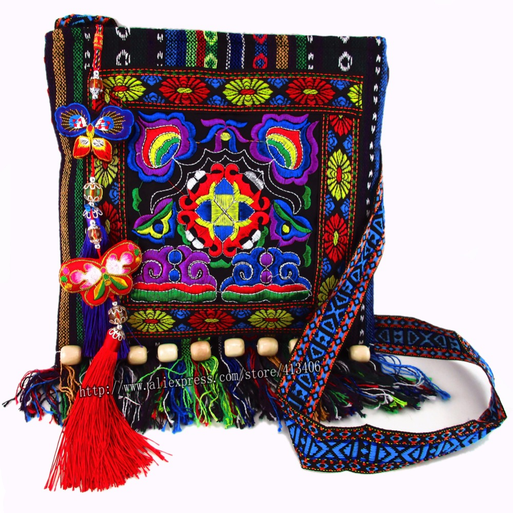 Bolsa de Ombro Bolsa de Mensagem para Mulher Frete Grátis Taxas Vintage Hmong Tribal Étnica Thai Indiano Boho Bordado Tapeçaria Sys-005.
