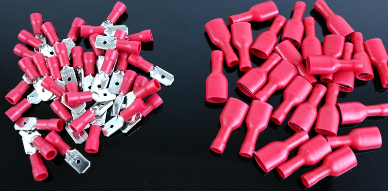 100pcs red Female Male fasten  Insulated Crimp Terminal Spade Electrical & Wiring Connector FDFD1.25-250*50 MDD1.25-250*50 hd 007 surface mounting silver plated surface crimp terminal current 10a male female 250v 7 pins connector