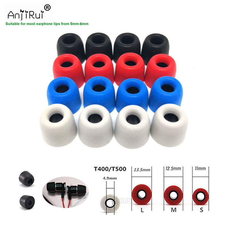 16 pcs /8 pair ANJIRUI T400 black 4.9mm (LMS) insulation foam tips for in-ear earphone headset earphones enhanced bass Ear Pads anjirui 6 pcs 3 pair anjirui t500 l m s 4 9mm caliber ear pads cap memory ear foam eartips for in ear headphones tips sponge
