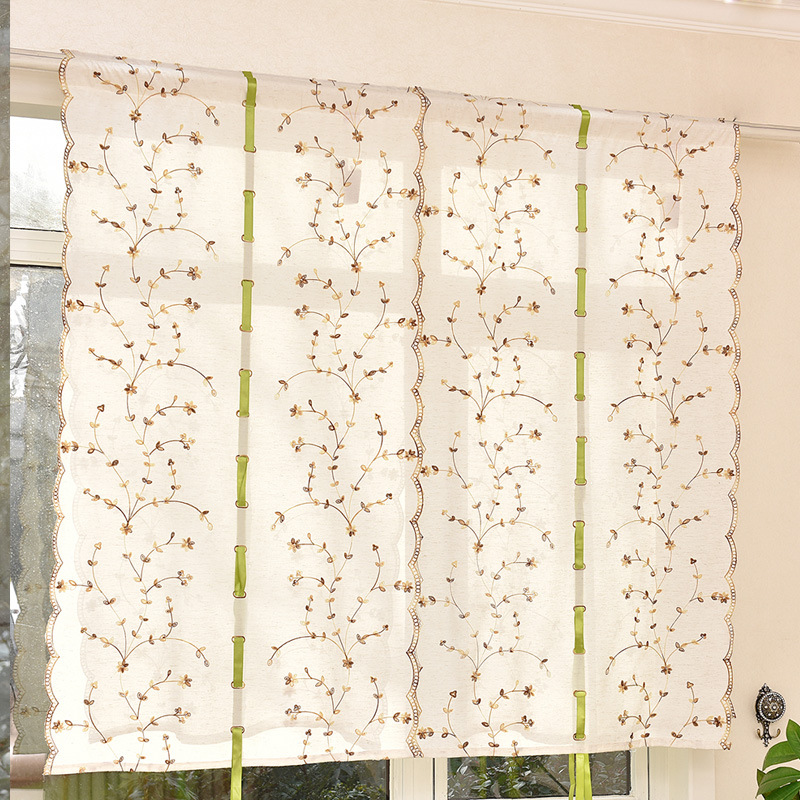 Junwell New Poly Linen Embroidery Ribbon Roman Curtain Home Wave European Kitchen Balcony Voile 1PC/lot Honeysuckle Designe