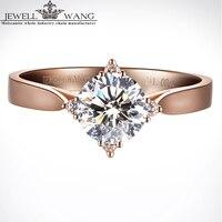Ювелирное розовое золото 18 K кольца с муассанитом для женщин 1ct сертифицированное обручальное кольцо бренд настоящие ювелирные украшения к