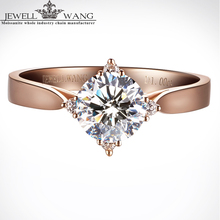 Jewellwang Rose Gold 18K Moissanite Rings for Women 1ct Certified Engagement Ring Brand Real Fine Jewelry Carat Cross Starlight