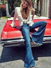 People 70s women vintage blue big flare denim trousers mid waist slim moustanche flare jeans big bell bottom jeans Free Shipping