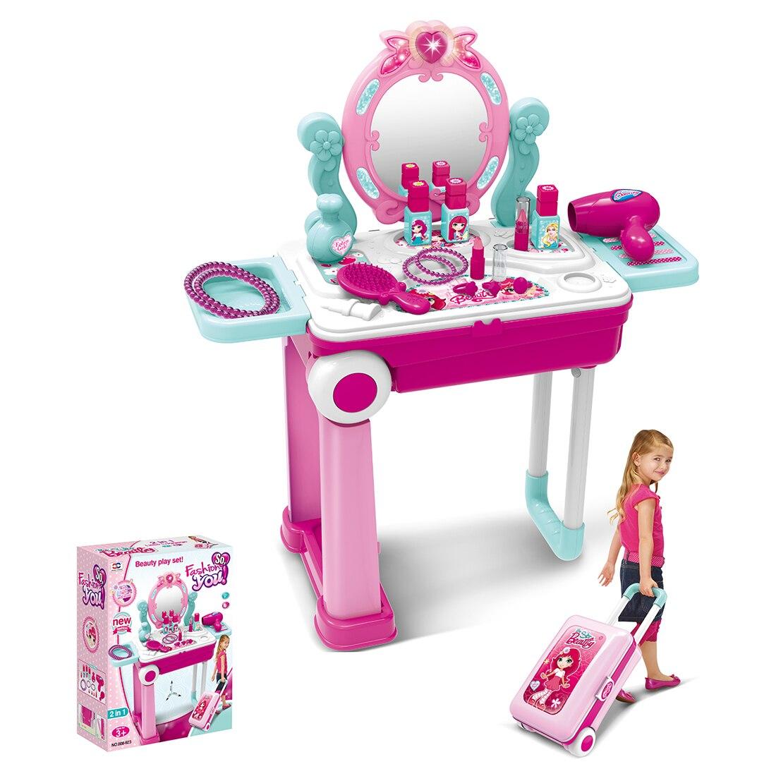 Дети инструмент для нанесения макияжа наборы Притворись Играть Workbench Playset развивающие игрушки с Чемодан случае девочки игрушки рождественс...
