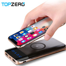 Powerbank wireless 10000mah 2 USB LCD PoverBank Micro Type C Qi Wireless Charger Mobile Phone Charger