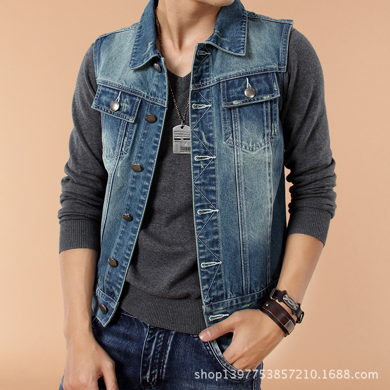 55c9b214a4 2015 NEW undershirt Spring and Autumn Slim sleeveless denim jackets jeans  sleeveless jacket men s vest men free shipping MP4-in Vests   Waistcoats  from ...