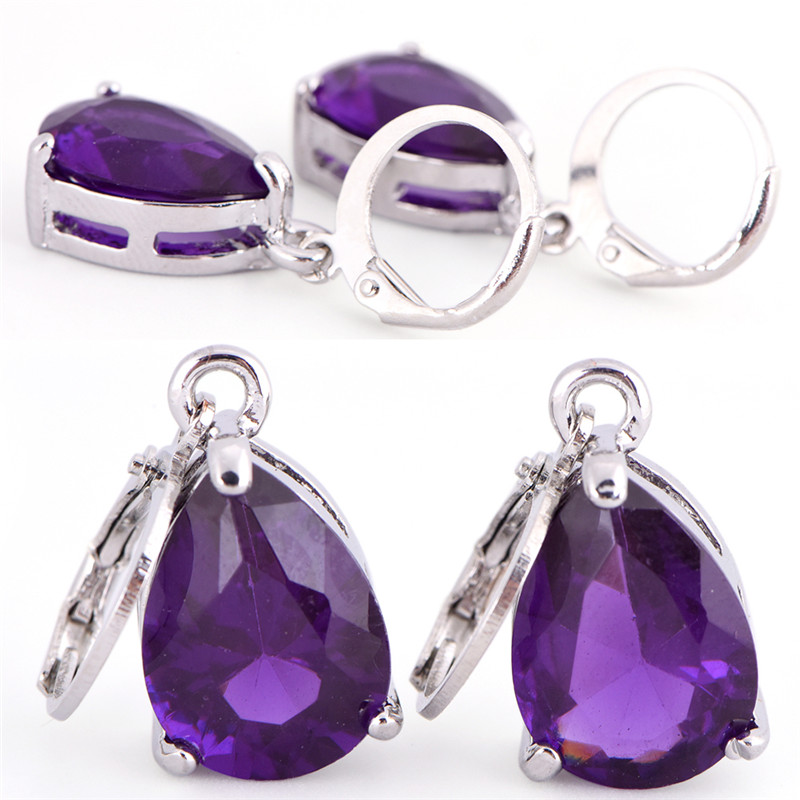 New Design Elegant Women/Girl's Silver Plated And Crystal Purple Color Drop Dangle Earrings Gift Jewelry Fashion
