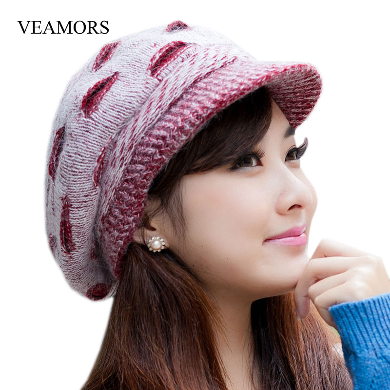 VEAMORS New Elegant Women Hat Winter&Fall Beanies Knitted Hats Rabbit Fur Cap,Female Fashion Autumn Ladies Crochet Hats Skullies skullies female rabbit ear hat hat women s hair cap fashion cap winter cap fpc012