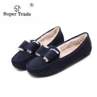 ST SUPER TRADE Casual Women Shoes Winter Shoes Korean Bow Plus Warm Autumn Leather Shoes Flats