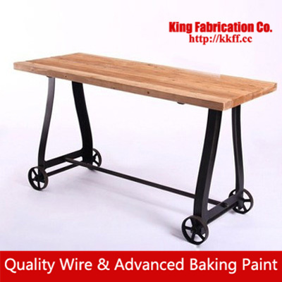 Four Wheeled Industrial Style Retro Vintage Solid Wood, Wrought Iron Coffee  Table French Country