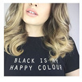 BLACK IS MY HAPPY COLOR Letter Print T-Shirt Women Sexy Summer Cool Black T shirt 2016 Cotton Casual Tumblr Tee T Shirt T-F10043