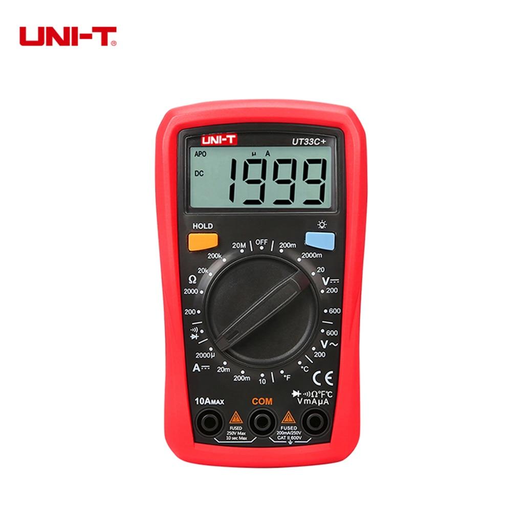 UNI-T UT33C+ Digital Multimeter AC DC Voltage DC Current Resistance Temperature Tester Backlight LCD Display Multitester