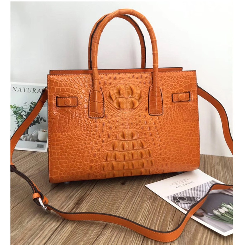 Exotic Genuine Alligator Skin Women's Orang Working Totes Large Shoulder Bag Authentic Crocodile Leather Lady Top-handle Handbag